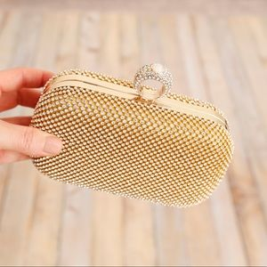 NWT Gold and Rhinestone Clutch